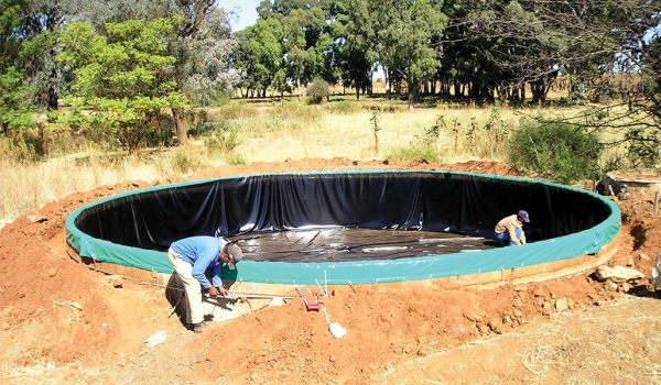 Hydrex - Reservoir at ground level fitted with PVC liner